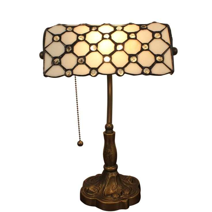 Gweat Tiffany, Retro Style Jeweled Banker Table Lamp, 10 Inch