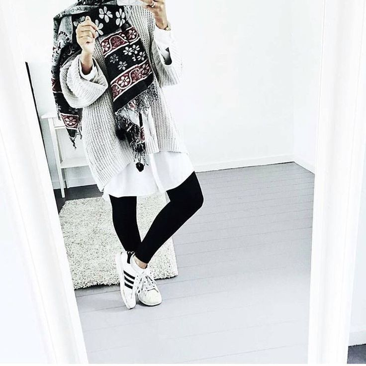 Hijab + Adidas Superstars + Pullover
