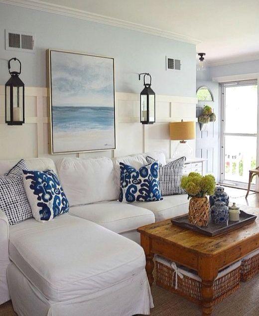 Coastal Theme Living Room Makeover Ideas. Same Room 4 Different Looks.  Featured On Completely Coastal. #coastaldecor #livingroomideas
