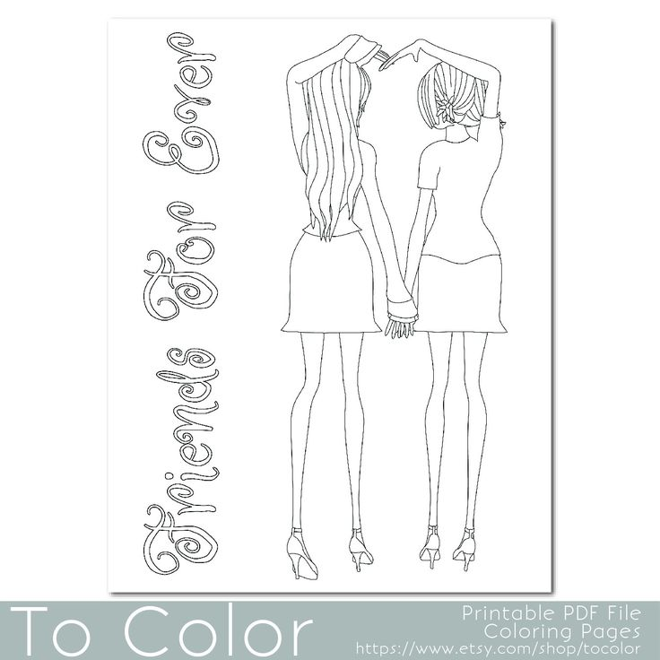 Two Girls Holding Hands Coloring Page