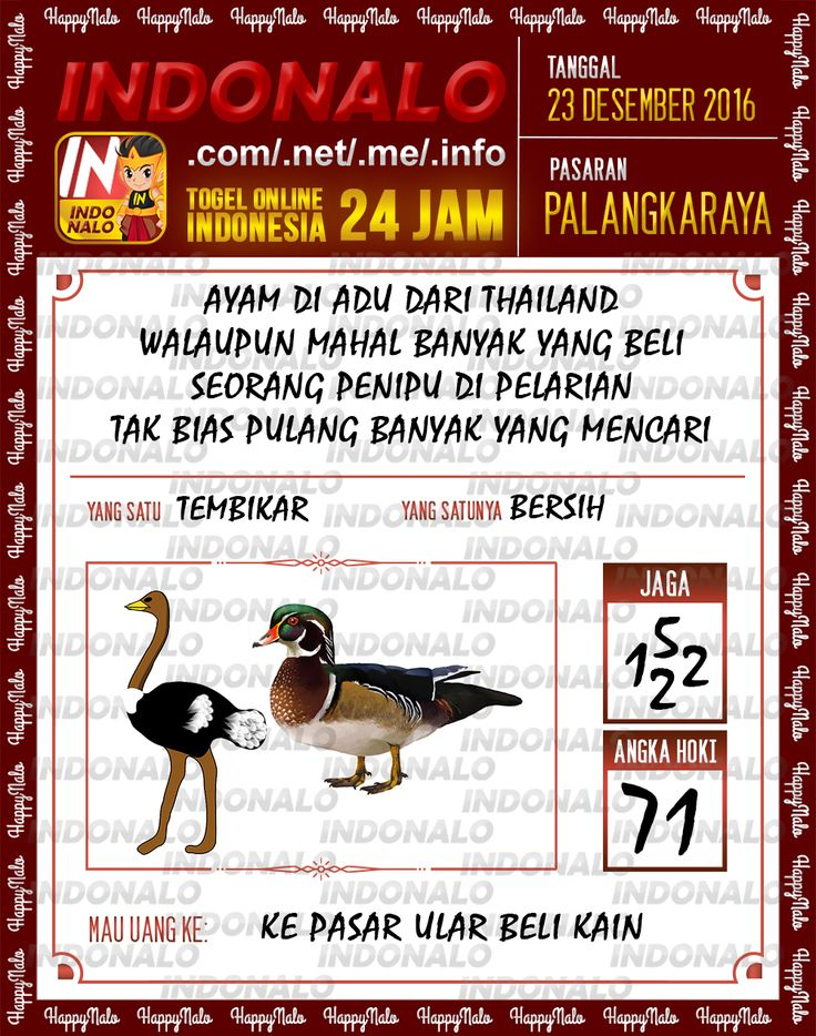 Angka Main 6D Togel Wap Online Live Draw 4D Indonalo Palangkaraya 23 Desember 2016