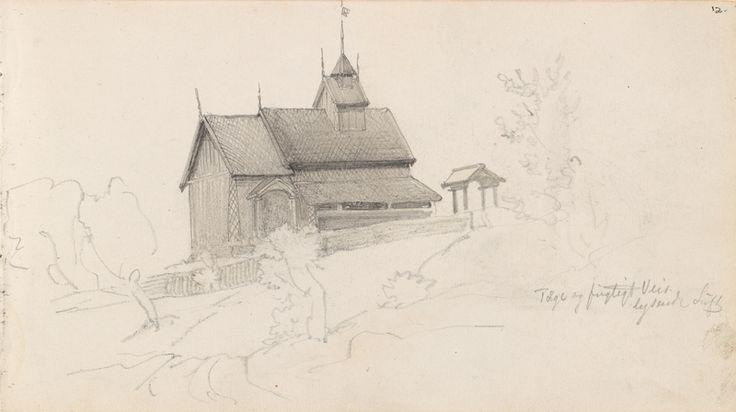 Eidsborg stavkyrkje (Juni 1873). Blyant på papir