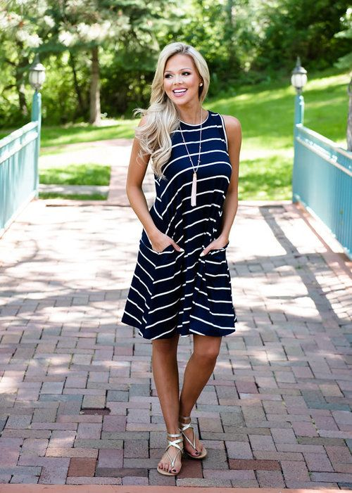 Mommy Navy Stripe Tank Dress, Striped Dress, Short Dress, Pocket Dress, Tank Dress, Mommy and Me, Matching, Ryleigh Rue, Online Shopping, Online Boutique, Boutque, Fashion, OOTD, Style, WIWT