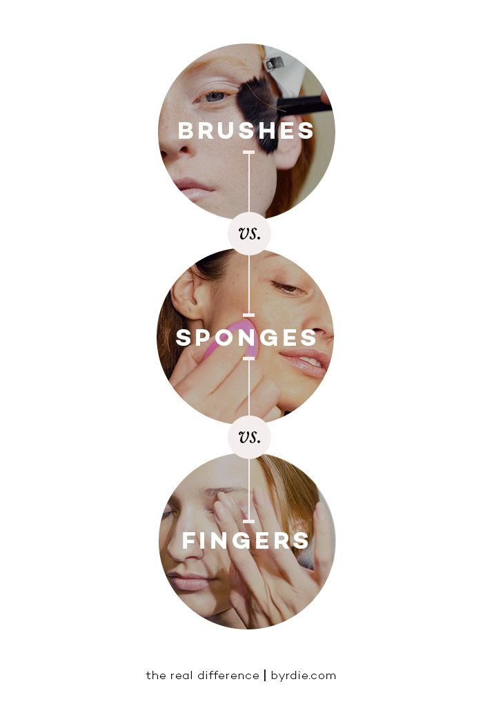 The difference between using brushes, sponges, and fingers to apply makeup