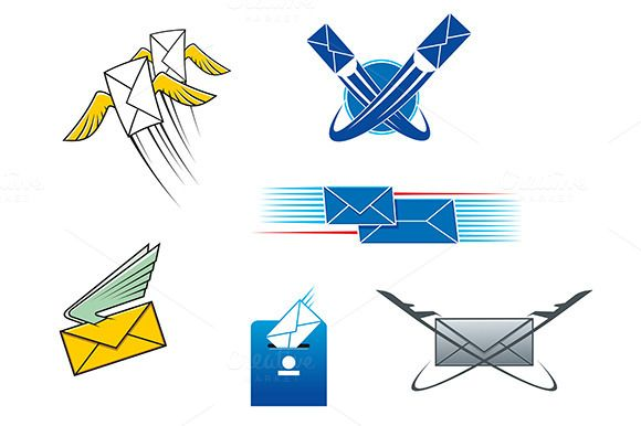 Post mail and letters symbols by seamartini on Creative Market