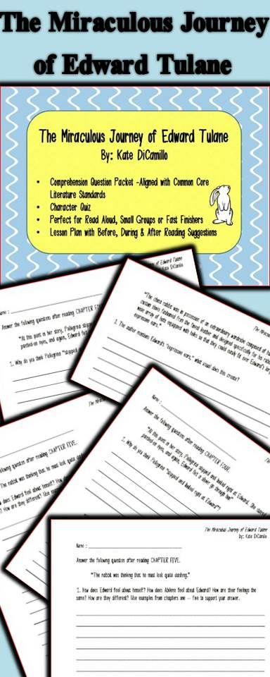 The Miraculous Journey of Edward Tulane Worksheets and Literature Unit