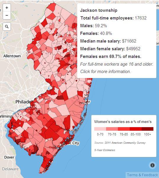 Interactive Google Maps Salary Gap Between Men And Women In New Jersey