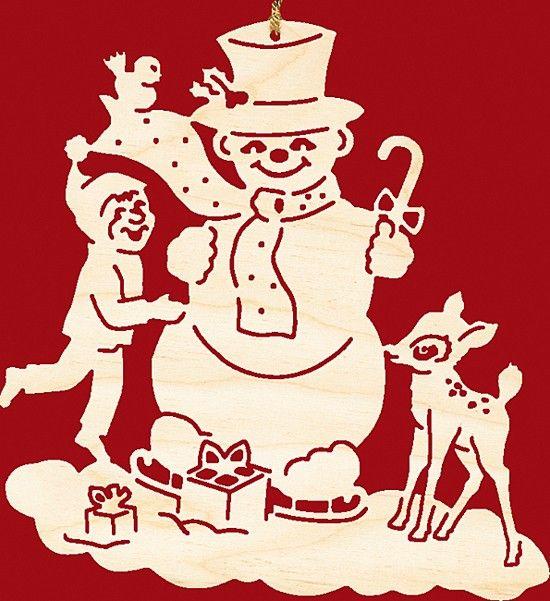 Taulin Fensterbild Weihnachten Schneemann mit Kind und Kitz