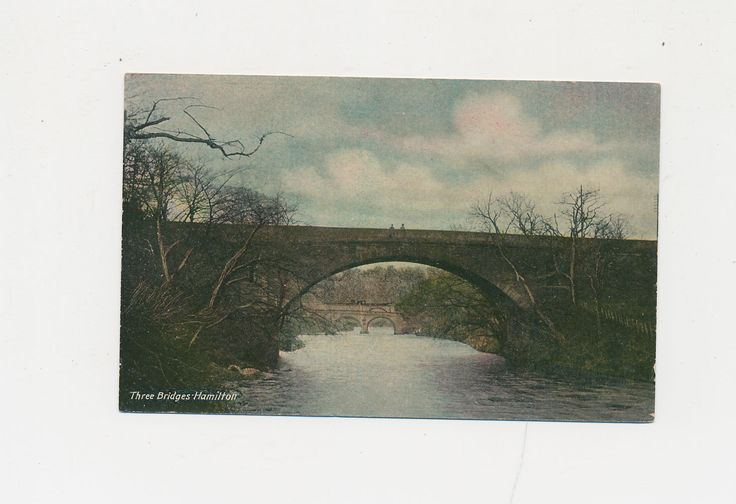 vintage color postcard of Three Bridges, Hamilton, Scotland, 1926 by mudintheUSA on Etsy