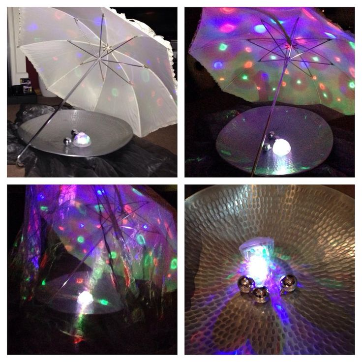 Light toy reflected onto umbrella, chiffon and shiny dish by Bea Brigham ≈≈