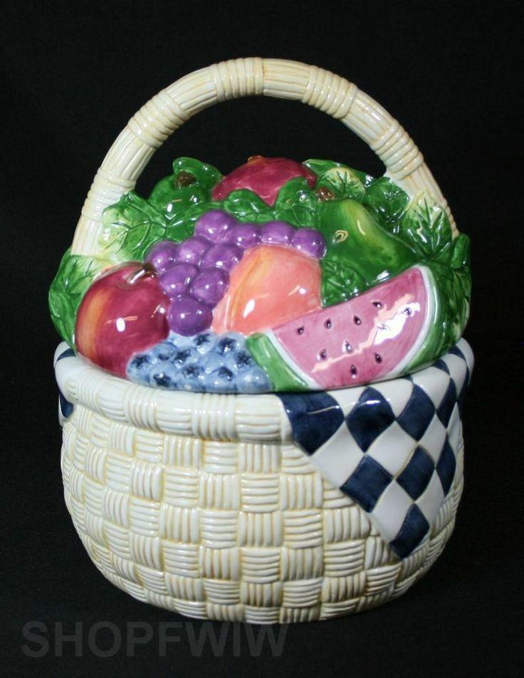Certified International Fruit Basket Cookie Jar Designed