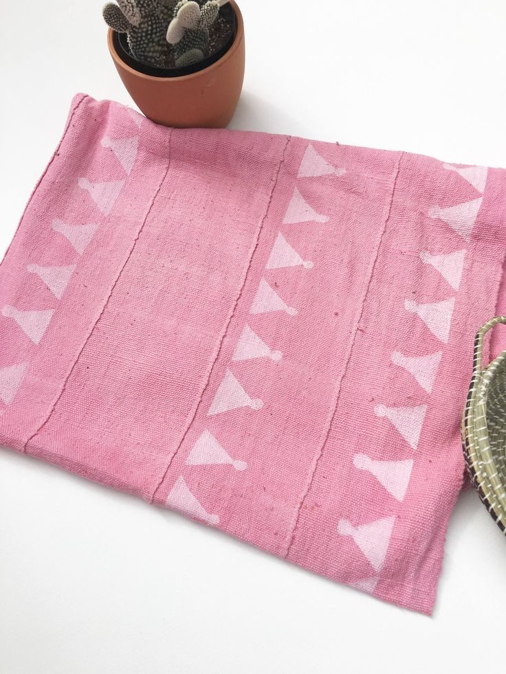 Mud Cloth, Pink Triangle print, Authentic Hand crafted Textile by MorrisseyFabric on Etsy