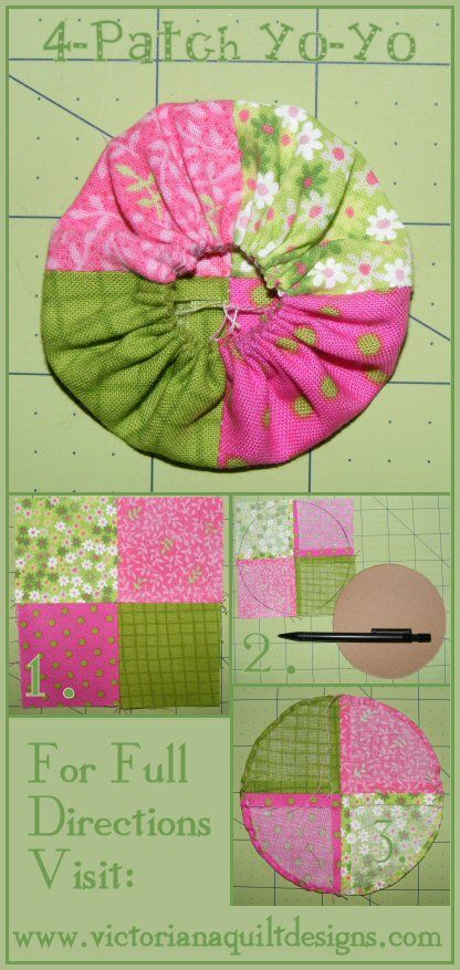 4-Patch Yo-Yo. Full Tutorial & Template here: http://www.victorianaquiltdesigns.com/VictorianaQuilters/BlockoftheMonth/4PatchYoYoTutorial.htm #quilting