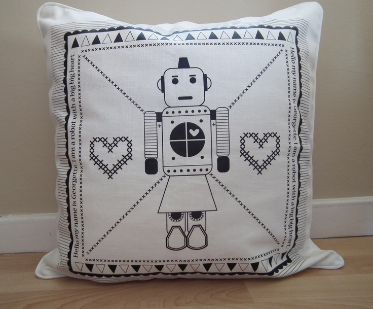 Georgette the Robot Scatter 50 x 50 Screen Printed www.unwrapped.co.za