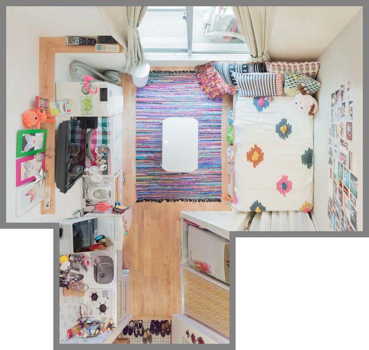 色とりどりの「思い出」と暮らす。カラフル&キュートなひとり暮らしの部屋 ひとり暮らし 一人暮らし 間取り ソファ 無垢材 リビング ナチュラル リノベーション 賃貸 ベッド くらし 部屋 内装 暮らし マイルーム 日々 住まい 賃貸インテリア 暮らしを楽しむ 緑 グリーン チェア Home   goodroom journal