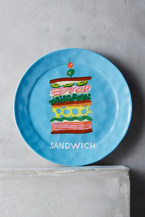 ANTHROPOLOGIE: 'Pictoral Dessert Plate - Sandwich' by Danielle Kroll ($14.00)