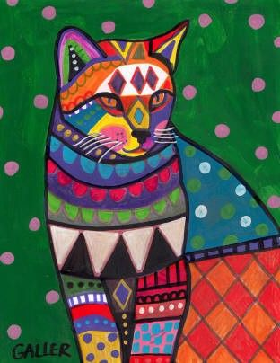 Folk Art Cat would make a fun fused quilt... Painting by Heather Galler.