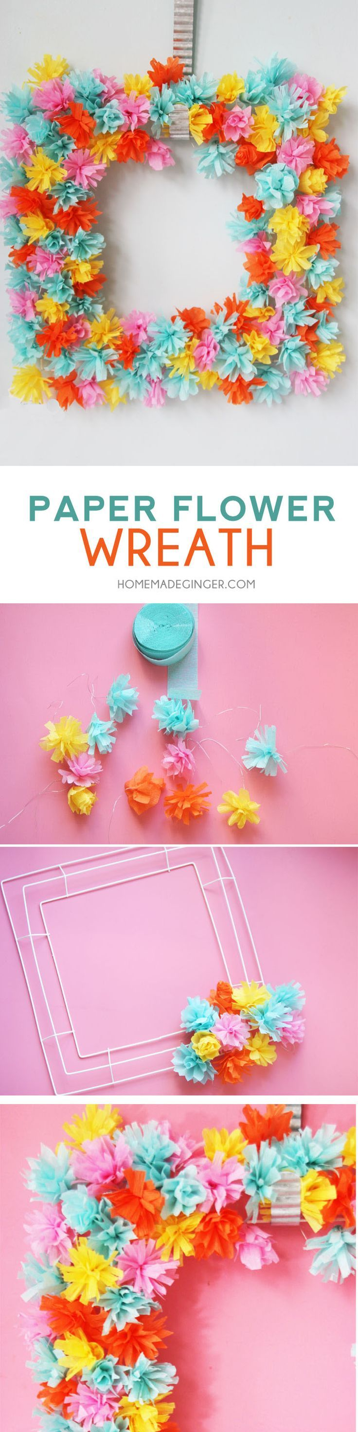 Diy paper flower wreath ruffled - Make A Beautiful Paper Flower Wreath Out Of Crepe Paper This Is The Perfect Diy