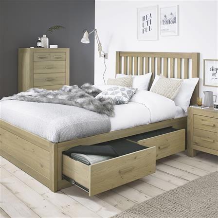 Turin King Wooden Storage Bed Frame, Aged Oak