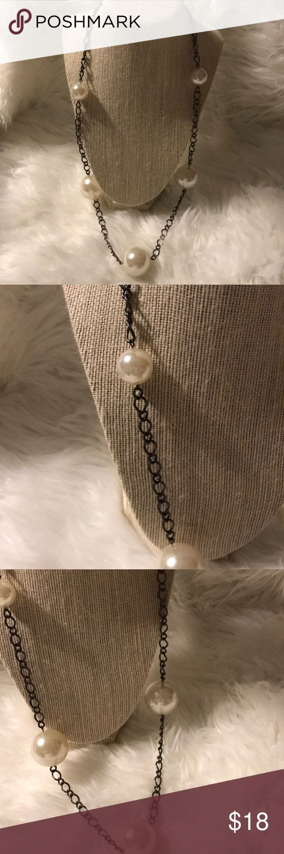 Pearl necklace Dark metal for chain. Huge pearls in varying sizes and various placement. 30 inches. New with tags. boutique Jewelry Necklaces