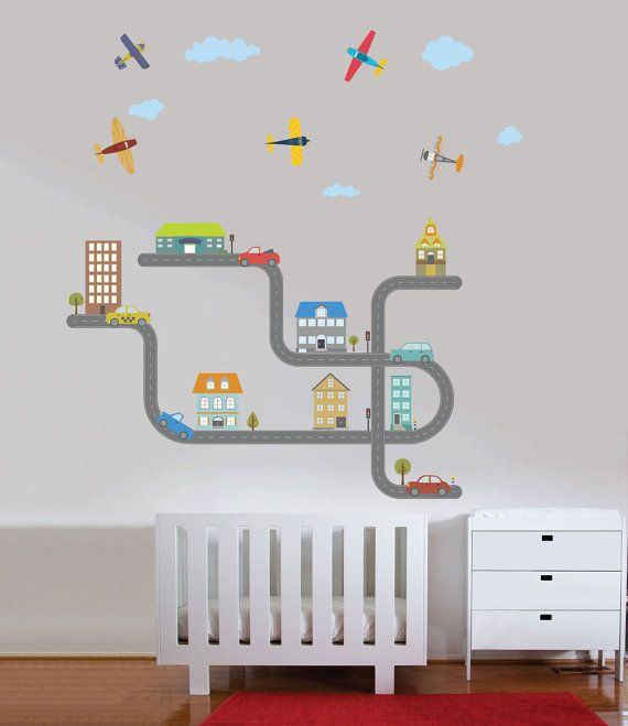 City Cars Airplanes Roads Large Decal For Boys Reusable Fabric Nursery Wall Decals And Walls