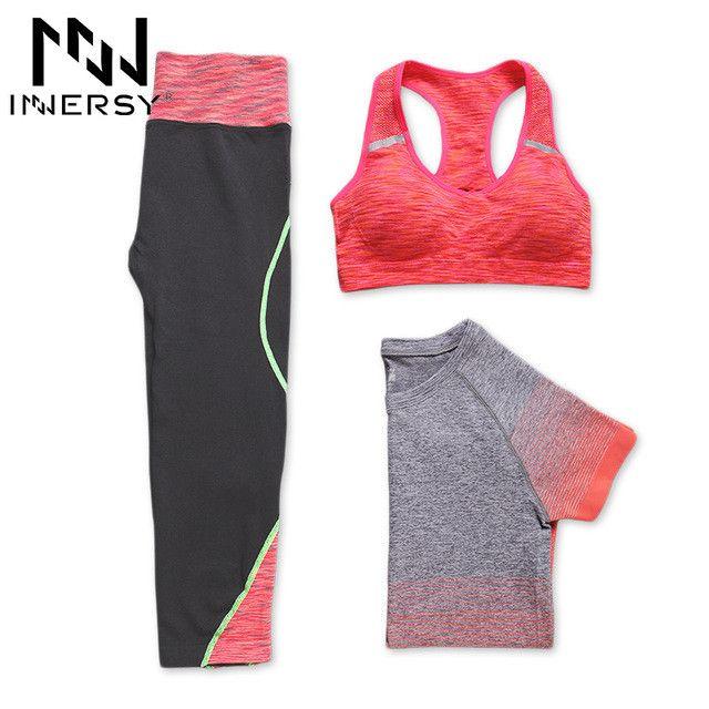 Innersy New women 3 pcs yoga set (shirt+pants+bra) jogging suits fitness gym tracksuit clothing quick dry sports suit Jzh148