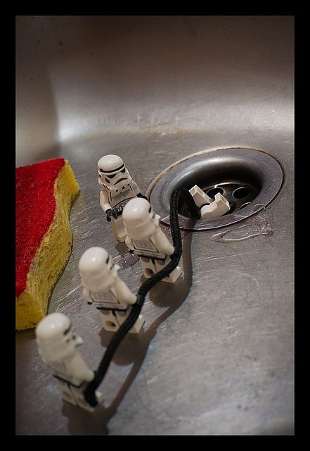 Just some Stormtroopers fetching a ring from the drain, no big deal.