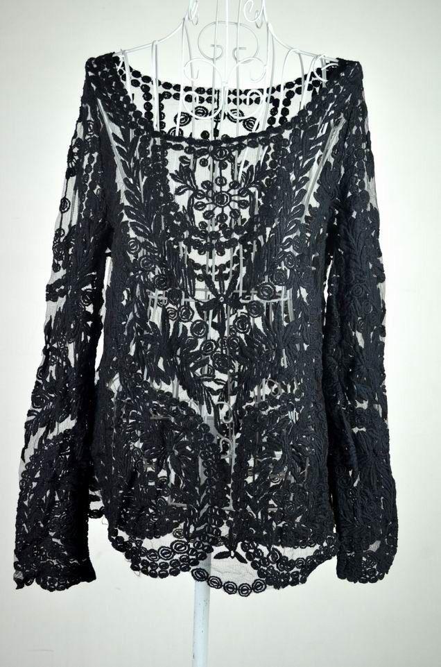 Blusas Femininas 2015 Women Long Sleeve Sexy Lace Blouse Tops Fashion Crochet Tops & Tees Lady Blouse Shirt Plus Size