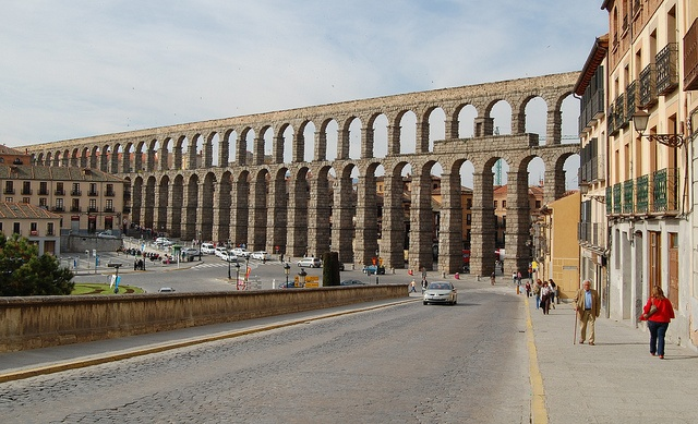 The Aqueduct of Segovia (or more precisely, the aqueduct bridge) is a Roman aqueduct and one of the most significant and best-preserved ancient monuments left on the Iberian Peninsula. It is located in Spain and is the foremost symbol of Segovia, as evidenced by its presence on the city's coat of arms.