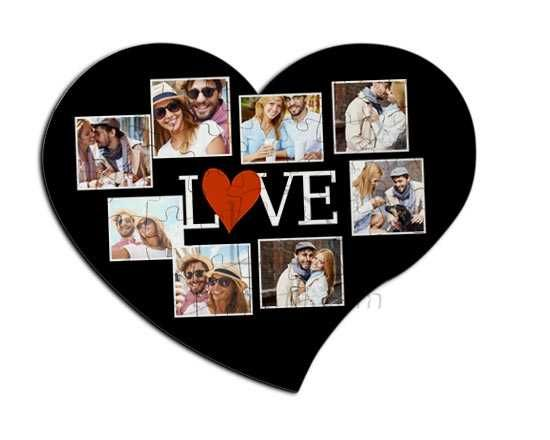Foto puzzle cuore con grafica collage