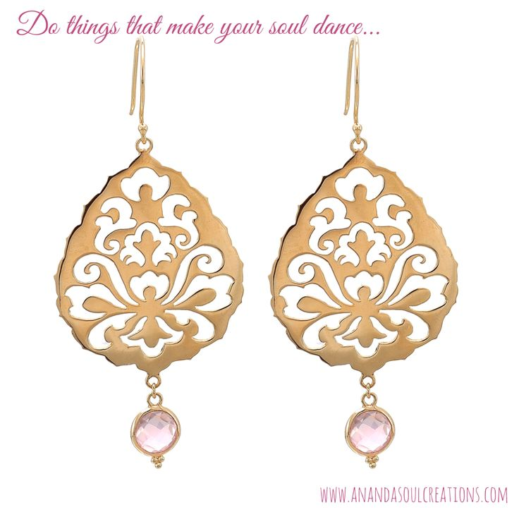 These are Shiva Rea's favorite earrings and they were designed to remind you to always stay focused on the things in your life that make your soul light up and dance. @shivarea108 #souldance #blessed #rosequartz #earrings #anandasoul #boho #yoga #jewelry #bali