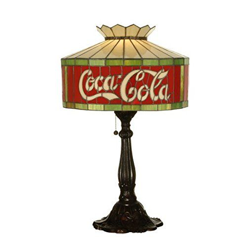 """Coca-Cola Table Lamp. Total Height: 24.5"""". Total Width: 16"""". Shade: 10""""Height x 16""""Width. Bulb Type: Med. Max Watt: 100. Bulb Quantity: 1. Material: Glass. Finish: Tiffany Items finish. Color theme: Ca Flame. Color: Brown. Weight: 12lbs."""