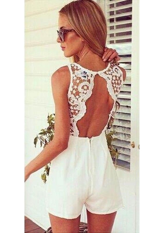 White Patchwork Lace Hollow-out Blackless Short Jumpsuit