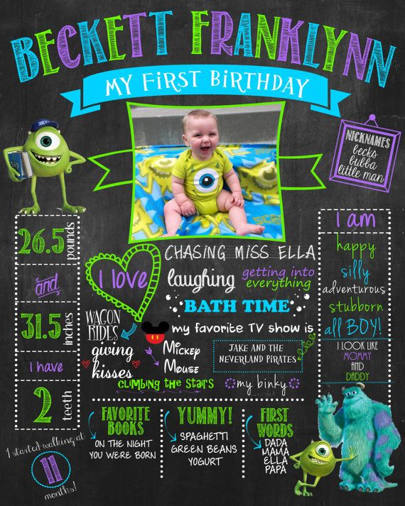 Monster's Inc. Birthday Chalkboard Sign for by HaleyMadisonDesign, $22.00