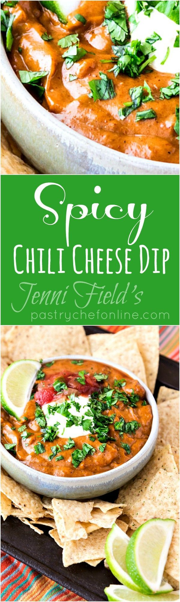 This spicy chili cheese dip recipe makes enough queso to serve a crowd. With several ways to adjust the spiciness, this dip is sure to please almost everyone! | pastrychefonline.com