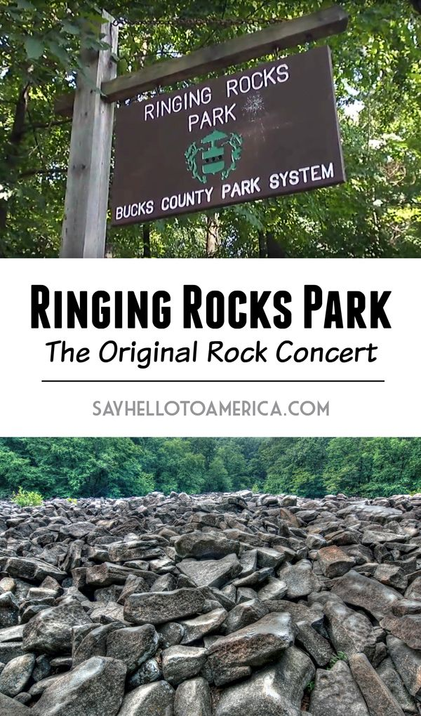 Ringing Rocks Park in Bucks County, Pennsylvania is a field of rocks that ring like bells when struck with a hammer. Click for more info or pin for later!