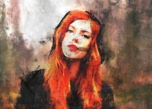 Red-haired young beauty, Autumn, Women, Girl, Digital painting, sketch