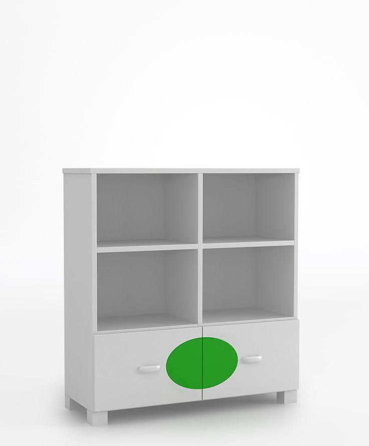 Regał 90 niski o wymiarach: 964x905x339. dwie szuflady i półki zabezpieczone przed wypadnięciem, szuflady na prowadnicach BLUM z systemem BLUMMOTION (niezależnie od wielkości lub ciężaru szuflady oraz siły z jaką jest ona zamykana BLUMOTION działa adaptacyjnie i dba o delikatne i ciche zamykanie), krawędzie szuflad zaokrąglone, możliwość przyczepienia regału do ściany.