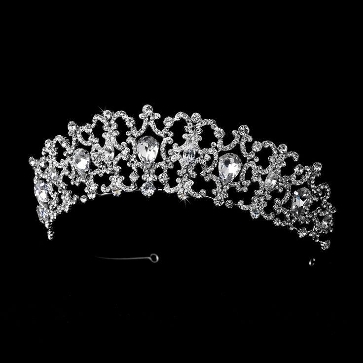 Regal Silver Plated Rhinestone Royal Wedding Tiara - Affordable Elegance Bridal -