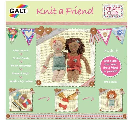 Knit a Friend – not acrylic (yay!) and includes patterns for interesting variations eg boy or fairy. From age 8?