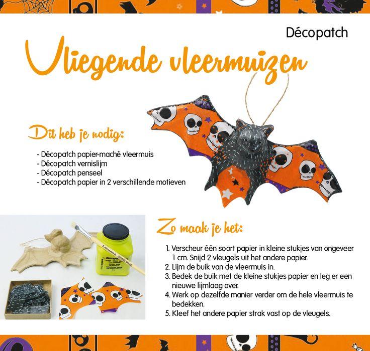 Knutsel samen met de kinderen een Halloween vleermuis in elkaar. Heel makkelijk dankzij het Décopatch-assortiment. Geven jullie de vleermuis ook een spooky naam? #knutselen #halloween #vleermuis #diy #stappenplan #AVA #decopatch