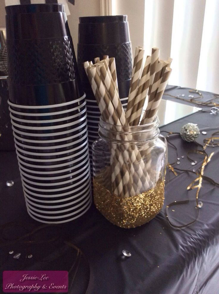 New Year's Eve Party Decorations - 2014 - Black, White & Gold theme. Sparkly glitter mason jars & Paper straws