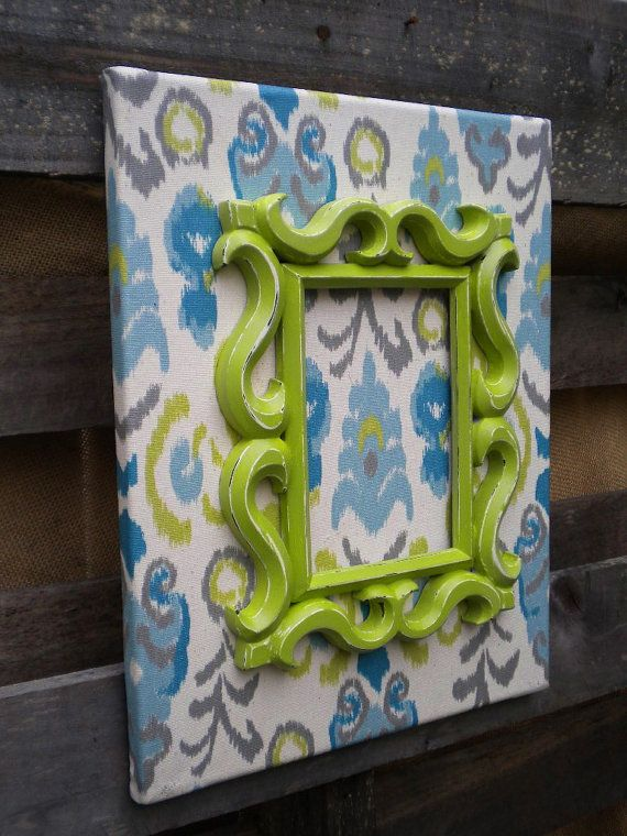 Cottage Chic Canvas Wall Art with Ikat fabric, Dorm Wall Art, Cottage Style, Cottage Decor, Shades of Ocean BLUE, GREY and CHARTREUSE Green on Etsy, $24.99