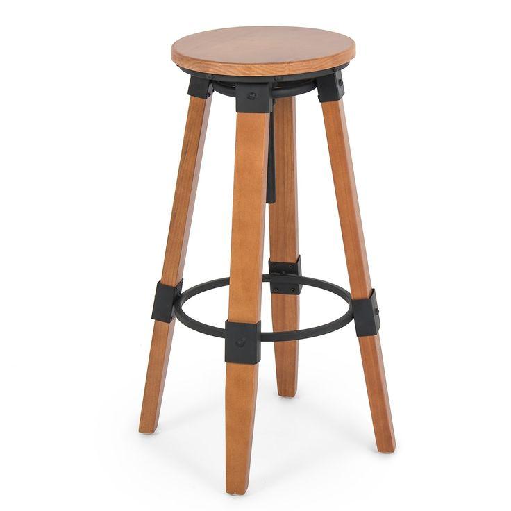 Belleze Swivel Bar Stools Vintage Style Pub Stool Adjustable Height, Brown (Wood)
