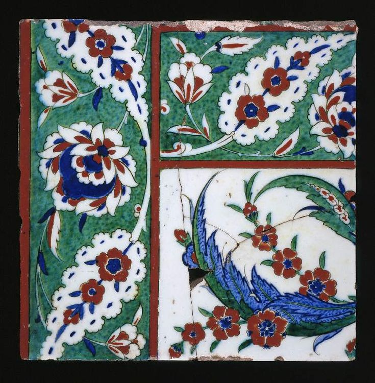 Maker(s): Unknown; potter Unknown; potter Category: fritware (stonepaste) Name(s): tile Islamic pottery; category Iznik; category Date: circa 1570 — circa 1580 School/Style: Ottoman Period: late 16th Century