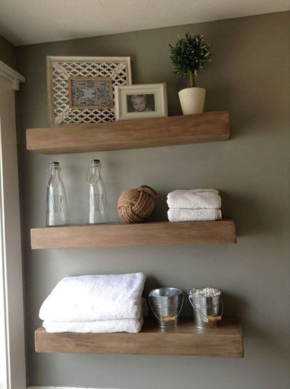"""Wooden floating shelves in a rustic brown and rustic grey/light brown. 24"""" ($25 each), 30"""" ($30 each), 36"""" ($35 each). Shelves are 6 1/2"""" deep and 3 1/2"""" thick.  From Emily Smith Hendrickson (https://www.facebook.com/HamiltonCountyRusticWoodworks/)"""
