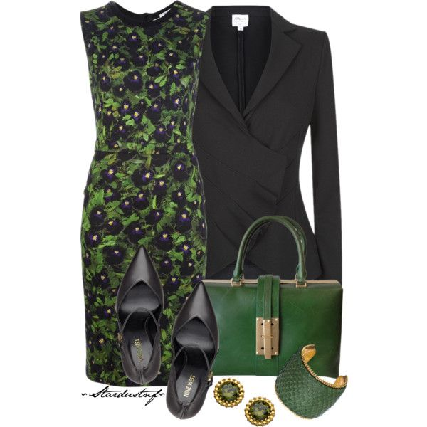 Green for the Office on St. Patrick's Day, created by stardustnf on Polyvore