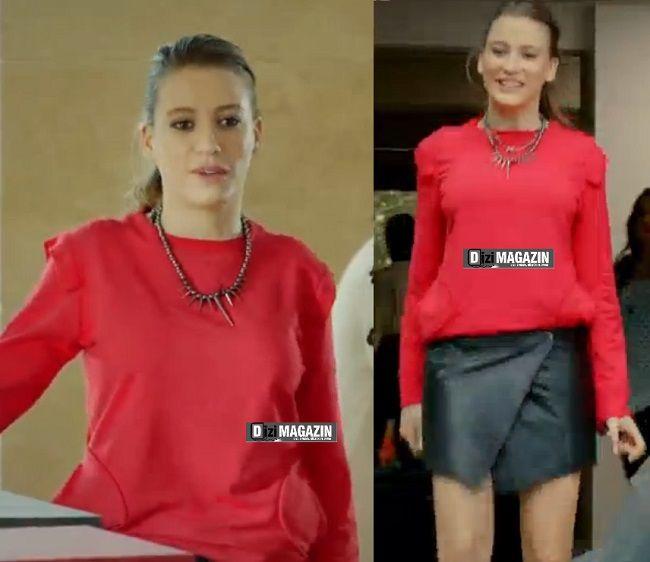 Medcezir 19.bolum - Mira - Kırmızı Bluz - Siyah Deri Etek - Section Mode Unique