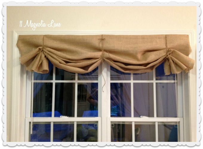 burlap window valance | Tutorial: How to Make a No-Sew DIY Burlap Window Valance
