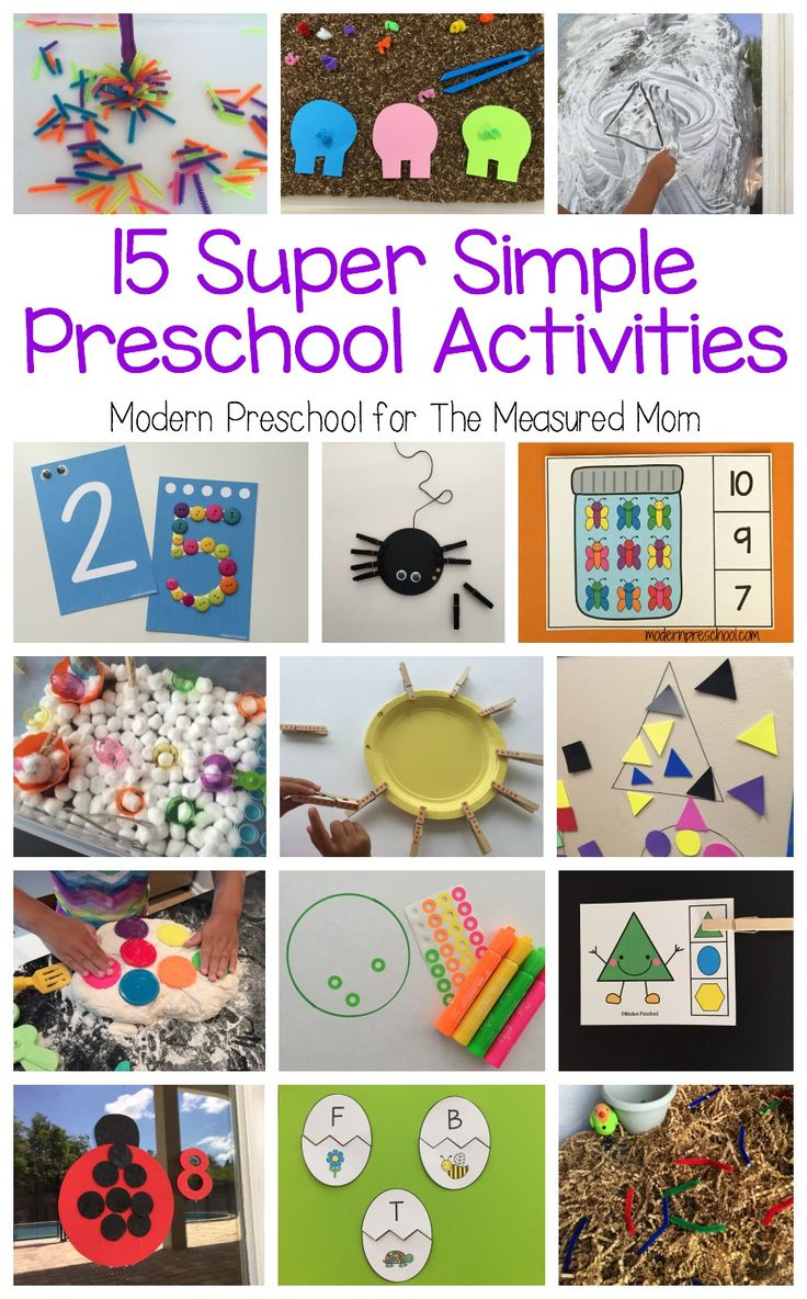 When planning learning centers for preschool, simple is best! Check out these 15 super simple preschool learning centers - free printables included!